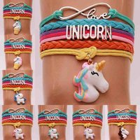Wholesale letters bangle - Infinity Love Unicorn Bracelet Letter Unicorn Horse Charm Braid Wrap Multilayer Bracelets Bangle Cuffs Fashion Jewelry DROP SHIP 320058