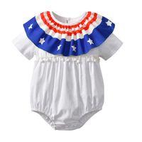 4. juli kleidung großhandel-2018 INS heiße Arten neue Sommer Baby Kinder Strampler American Flag Stirnband 4. Juli Unabhängigkeitstag Kurzarm Spielanzug Kinder Kleidung