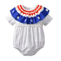 Wholesale flag romper - 2018 INS hot styles New summer baby kids romper American Flag Headband 4th of July Independence Day short sleeve romper kids clothing
