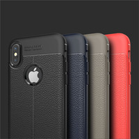 Wholesale iphone silicone case - Fashion Soft TPU Litchi Leather Texture Phone Case For iPhone X Anti slip Silicone cases For Samsung Note8 S9 Huawei P20