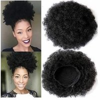 Wholesale Cover Buns - 6inch Afro Kinky Women's Elastic Net Curly Chignon Bun With Two Plastic Combs Updo Cover Synthetic Hair