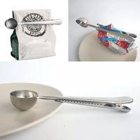 kaşık klipsleri toptan satış-Paslanmaz Çelik Kahve Çanta Ile Kaşık Ölçme Mühür Klip Gümüş İşlevli Jöle Dondurma Meyve Kepçe Kaşık Mutfak Aksesuarları WX9-473