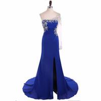 ingrosso abiti banchetti blu-Vestido De Noche Royal Blue Chiffon Evening Split Dress con perline One Sleeve Design Attraente Ladies Banquet Dress