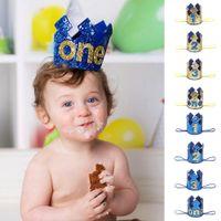 ingrosso cappelli di compleanno blu-Blue Gold Baby Birthday 1 anno Crown Glitter Princess Crown per il compleanno Baby Shower Decor Headband Regali per bambini Cappello accademico