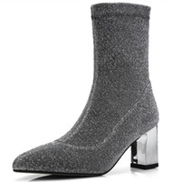 ladies chaussure women glitter pumps shoes woman zapatos mujer sapato ankle  boots chunky high heels booties gladiator XZ180368 cb213e38bea4