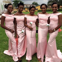 Wholesale Dresse For Girls - Pink Mermaid Bridesmaid Dresses Cheap Bateau Neck Plus Size Long Bridesmaid Gowns For Black Girls Custom Made Wedding Guest Dresse 2018