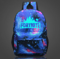 Wholesale food sundries - 12 Designs 20L Fortnite Battle Royale School Bag Noctilucous Backpack Student Shoulder Bag Luminous Backpacks Outdoor Bags 12pcs