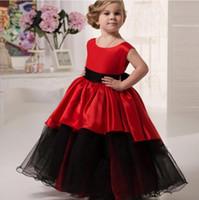 siyah tül şeridi toptan satış-Kırmızı ve Siyah Çiçek Kız Elbise Düğün İçin Sashes A Hattı Tül Saten Kurdele Ilk Communion elbise Kızlar Çocuklar için Abiye giyim 2018