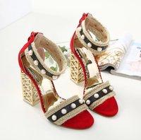 inci ayak bileği düğün ayakkabıları toptan satış-Seksi Toka Pompaları Kadın Inci Yüksek Kalın Topuklu Ayakkabı Burnu açık Ayak Bileği Kayışı Sandalet Kadınlar Düğün Ayakkabı