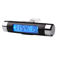 termómetro lcd digital automático al por mayor-2 en 1 Reloj de tiempo del coche Termómetro Pantalla de visualización LCD digital Salida de ventilación Accesorios automáticos