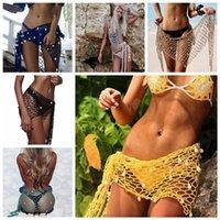 Wholesale sheer scarves wholesale - 6 Styles 80*200cm Mesh Handhook Beach Triangle Shawl Scarf Wrap Stole Shiny Triangle Sheer Women Fishing Net Shell Cover-Ups Swim AAA315