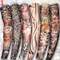 фальшивая рука хэллоуина оптовых-6PC Hot Sale Style Unisex Women Men Temporary Fake Slip On Tattoo Arm Sleeves Kit Colletion Halloween