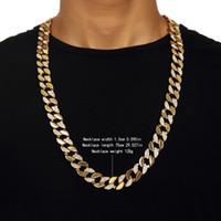 ingrosso catene in oro giallo-18 K Oro Hip Hop Bling Cubano Catena Curb Uomini Giallo Mezzo Liscio Mezza Zirconia Collana Simulata Maschio Regalo di Alta Qualità # HOP36