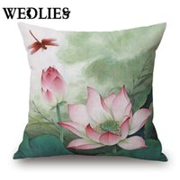 Wholesale Chinese Ink Paintings Lotus - Wholesale-New Chinese Retro Painting Lotus Pillowcase C-reative Modern Ink Cushion Pillows Cover Home Throw Cushions Case 45x45cm