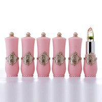 Wholesale flower jelly lipstick online - Long Lasting Moisturizer Gold Flower Jelly Lipstick Transparent Waterproof Temperature Changed Color Changing Lips Cosmetics Makeup