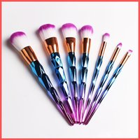 Wholesale plastic gourds - Free Shipping by ePacket HOT Mermaid Screw Diamonds Gourd Makeup Brushes Sets 3D Colorful Professional Brushes Foundation Blush Kit Tools