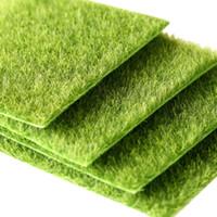 ingrosso tappeto erboso artificiale-15x15cm fai da te mini fata giardino simulazione piante artificiale finto muschio decorativo prato tappeto erboso erba verde micro paesaggio decorazione