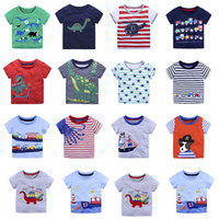 Wholesale Top Tee Brand Shirts Wholesale - Baby animal cartoon T-shirts children boys print tops summer stripe Tees 2018 new Boutique kids Clothing 14 colors C3884
