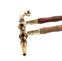 Wholesale Tobacco Stems - New solid wood slub detachable tie rod filter metal pipe straight type high-quality tobacco stem