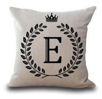 ingrosso gettare cuscini corona-YWZN 26 Letters Pillow Case Crown 45 * 45cm Cotone Lino Throw Pillow Cover Lettera Federe decorative