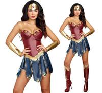 wonder woman costume toptan satış-Wonder Woman Cosplay Kostümleri Yetişkin Justice League Süper Kahraman Kostüm Noel Cadılar Bayramı Seksi Kadınlar Fantezi Elbise Diana Cosplay kadın ...
