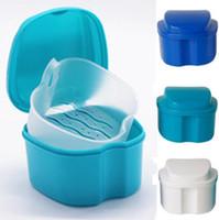 Wholesale food storage online - Denture Bath Box Case Dental False Teeth Storage Cleaning Container Storage Box with Hanging Net KKA5687