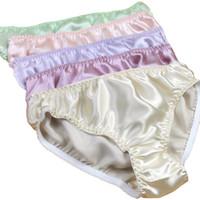 Pure silk Solid Panties For Women Mid waist Glossy 100% Mulberry Silk Plus Size Briefs Underwear