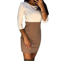 linhas curvas vestido venda por atacado-Laamei 2018 outono mulheres dress curves patchwork casual mini dress o pescoço three quarter sleeve bodycon dress vestidos plus size