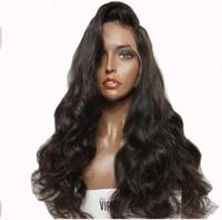 melhores perucas de cabelo humano europeu venda por atacado-Cabelo europeu 100% não transformados remy virgem onda do corpo do cabelo humano melhor grau cor natural peruca cheia do laço para as mulheres