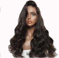 mejores pelucas de cabello humano europeo al por mayor-Pelo europeo 100% sin procesar remy virginal cuerpo del pelo humano onda del mejor grado de color natural peluca llena del cordón para las mujeres