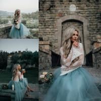 vestidos de cocktail azuis para o baile venda por atacado-Vestidos de cocktail 2019 Longo Manga Comprida comprimento do chá árabe formal vestidos de noite Duas Peças Curto prom Azul Lace Ver Através Plus Size