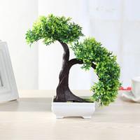 künstliche bonsai-bäume großhandel-Großhandel 6 Arten Künstliche Pflanzen Blume Bonsai Künstliche Baum Kunststoff Sukkulenten Pflanzen Für Bürotisch Hausgarten Dekoration