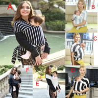 Wholesale Cotton Sling Bags - Multifunctional Infant Breastfeed Sling Baby Striped Wrap Carrier Backpack Bag kids Breastfeeding four seasons suitable 7 colors DHL C4373