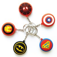 Wholesale wholesale superman toys - The Avengers Pendant Superman Captain America Deadpool Spider Man Superhero Rubber Key chains Keyring kids toys Christmas gifts