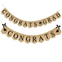 Wholesale rustic linens - Congrats grad party Banner Hanging Linen Flag Burlap Pennant Vintage Rustic School Class Graduation Party Decoration CCA8841 100pcs