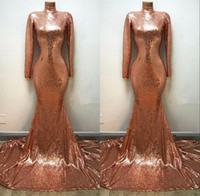 Wholesale sequined dresses for sale - Elegant Rose Gold Sequined Prom Dresses Mermaid Long Sleeves High Neck Sweep Train Evening Gowns