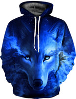 erkekler ince pullu kapüşonlu hoodies toptan satış-Yeni Galaxy Uzay Mavi Kurt Hoodies Baskılı 3D Kadın Erkek Tişörtü Eşofman Uzun Kollu Ceketler Kapşonlu Ince Hoody Kazak