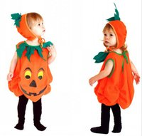 Wholesale animal romper hat online - Baby Girls Boys Halloween Pumpkin cosplay Costume Set romper with hat Kids stage show role play HC45