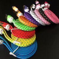 cordon de nouilles pour micro achat en gros de-Chaude Haute Qualité 1 M 2 M 3 M Nouilles Plat tressé Chargeur Câble Tissu Tressé Micro USB Charge Données Sync Cord pour type-c android