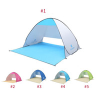 Wholesale two person camping tent - 4colors Folding tent Automatic Open Tent Instant Portable Beach Tent Shelter Hiking Camping Anti-UV Family Camping Tents For 2 Person