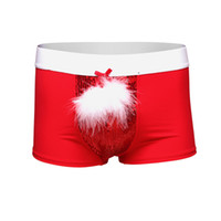 Wholesale Underwear Man D - Wholesale-2017 New Year Christmas Underwear Men's Boxer Shorts Feather+Bead Piece Have S-XL red Color Sexy Men Halloween Costumes