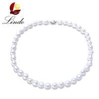 Wholesale White Pearl Strand Freshwater - 2017 New Arrival 100% Natural Freshwater Pearl Women Baroque Necklace Elegant 925 Sterling Silver White Pearl Strand Jewelry