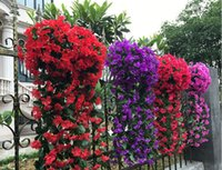 Wholesale Artificial Hanging Baskets - wholesale Artificial flowers Simulation Hydrangea Violet hanging flowers Cane wisteria series For Wedding decoration Wall decoration Party