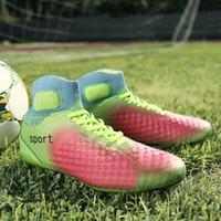 tamaño niños fútbol al por mayor-Botas deportivas al aire libre para hombre FG Cleats Boots Niños Niños Niños Niños High Quality Slip-on Zapatillas de fútbol Tamaño 35-45