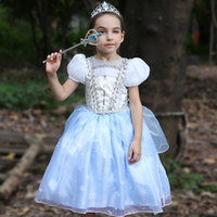 Wholesale sequin stage costumes resale online - 2018 Noble Christmas Girl dress Blue Princess Costume stage dresses Puff sleeve Hand made beads Sequins Boutique girl clothing Free DHL