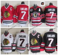 ingrosso patch blackhawks-Mens 1992 Vintage Chris Chelios Chicago Blackhawks Maglie da hockey 75th Black Home Rosso Classic White 7 Chris Chelios Stitched Shirts C Patch