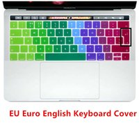 Wholesale Laptop Skins 15 - Rainbow Silicon EU Euro English Version Keyboard Cover Skin For New MacBook Pro 13 15 with Touch Bar For Mac Keyboard Protector