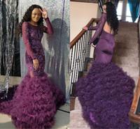 ingrosso perline di potere viola-2018 New Purple Prom Dresses Beads Applique di pizzo maniche lunghe backless abito da sera formale africano a strati Tulle abiti da festa di fondo