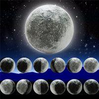 ingrosso la guarigione della luce-ABS 6 Kinds Fase della luna LED Wall Moon Lamp con telecomando Rilassante Healing Moon Christmas Night Light per bambini