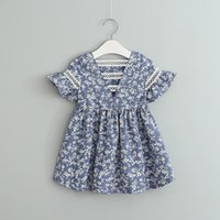 Wholesale Blue White Dress Porcelain - Summer kids dress baby girl short sleeve blue and white porcelain dress floral dress 5 p l